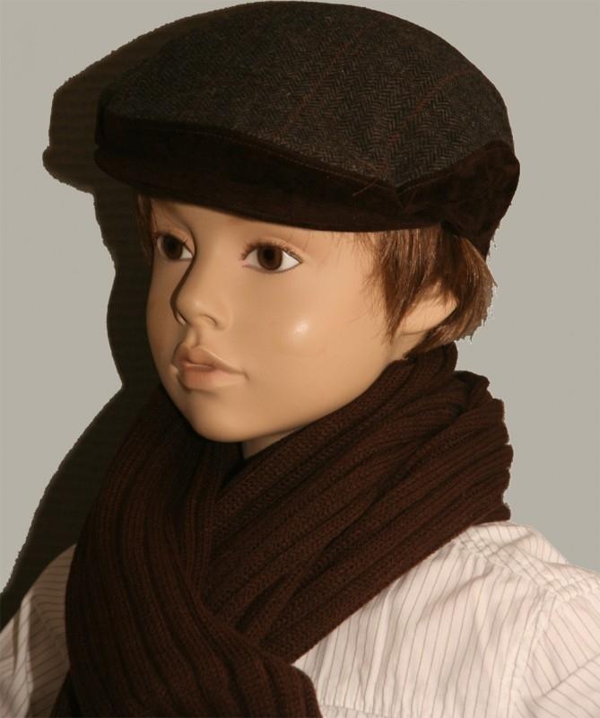 Pet `George` - flat-cap - visgraat bruin - maat 54/55/56/57 - FI