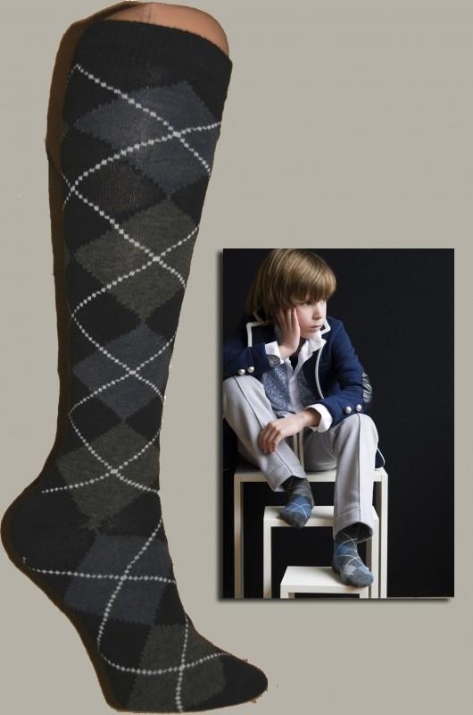 Bonnie Doon kniekous `Argyle` donkerblauw/grijs - maat 31 t/m 38 - BD09