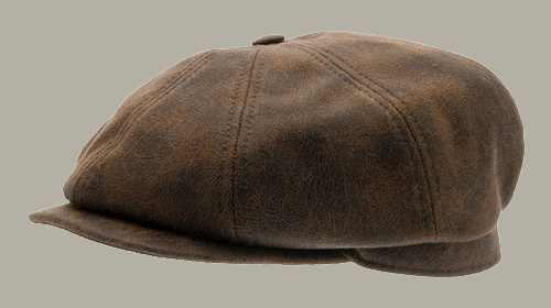 Pet `Alan Faux Leather Brown` - bruin leren newsboy cap - maat 56/58/59/60 - CTH Ericson