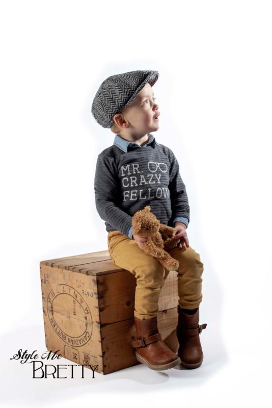 Pet `Theodor' Greyling Black - newsboy cap met oorflappen - grijze visgraat pet - maat 46/48/50/52 - CTH Mini