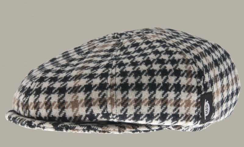 Pet `Theodor' Morgan Honey - newsboy cap met oorflappen - bruin/zwart/ecru geruit - maat 55/56/57/58/61 - CTH Mini