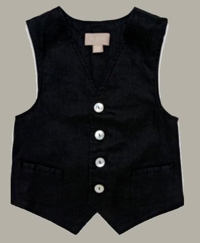 Little Linens zwart linnen gilet - maat 146 - LL22