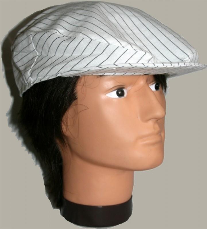 Pet `Ibbe` - flat-cap - wit met grijze streep - maat 55/56/58 - FI
