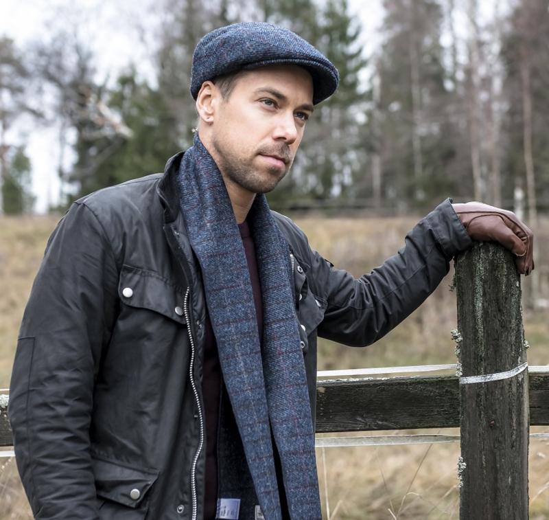 Shawl 'Edgar' Tweed  Overcheck Blue - one size - wollen shawl - CTH Ericson
