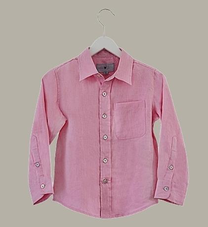 Little Linens  'Imperial Pink' - roze linnen overhemd - maat 80 - LL54