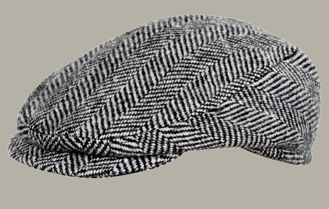 Pet `Lars` - flat cap - zwart/wit wollen visgraat - maat 55 - FI