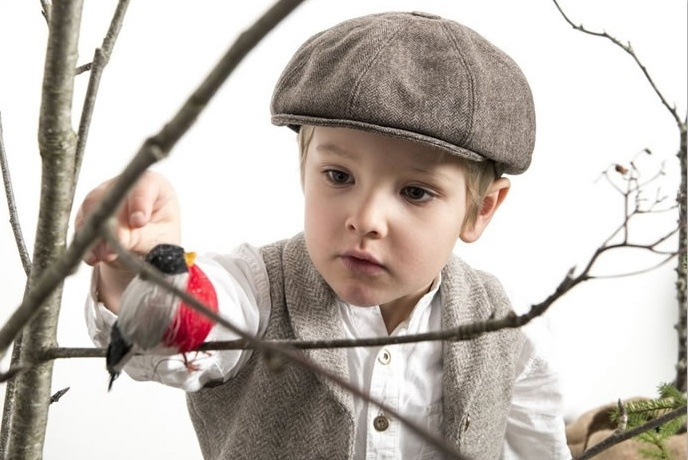 Pet `Theodor Herringbone Brown` - newsboy cap met oorflappen - bruin visgraat - maat 46/52/58/60 - CTH Mini