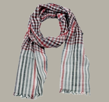 Shawl 'Hadley' rood/grijs/offwhite geruit - Vinrose