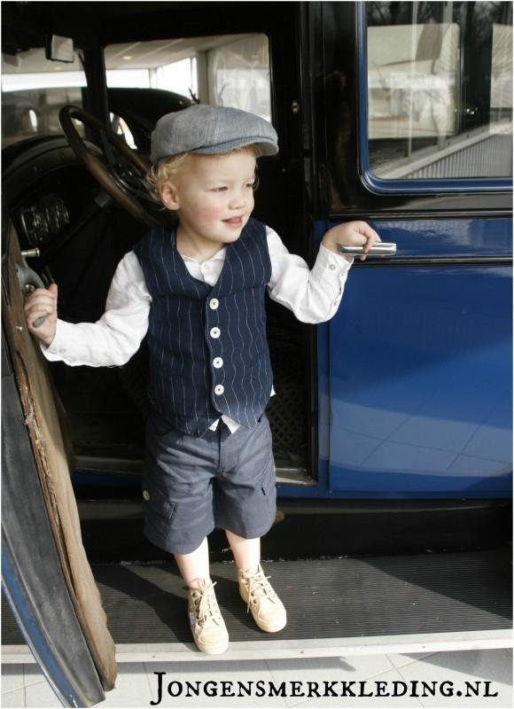 Little Linens donkerblauwe/navy linnen bermuda - maat 110/116 - LL24