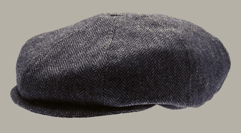 Pet `Theodor Herringbone Blue` - newsboy cap met oorflappen - blauw visgraat - maat 46/48/50/ 52/54/56/ 60/62 - CTH Mini