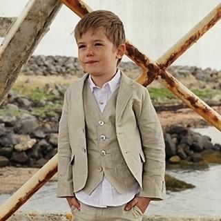 Little Linens 'Sand' linnen blazer - maat 92 - LL43