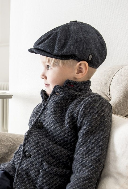 Pet `Theodor Herringbone Blue` - newsboy cap met oorflappen - blauw visgraat - maat 50/52/60/62 - CTH Mini