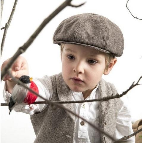 Pet `Theodor Herringbone Brown` - newsboy cap met oorflappen - bruin visgraat - maat 46/48/50/52/54/56 - CTH Mini