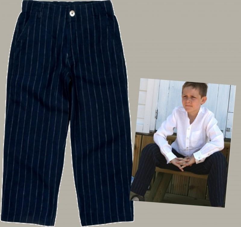 Little Linens donkerblauwe linnen krijtstreep lange broek - maat 146 - LL12