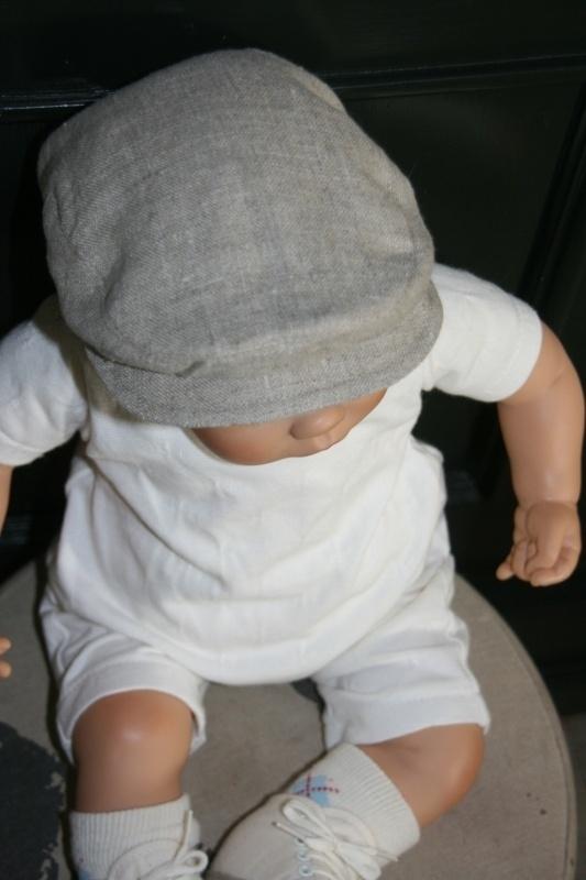 Pet  'Jonas' - naturel linnen newborn baby flat-cap - maat 36-38 - ClassyBoy