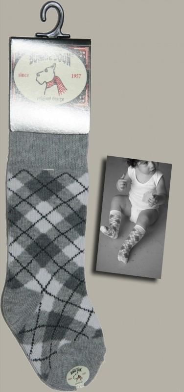 Bonnie Doon kniekous `Argyle` grijs/wit - maat 0-12 maanden - BD02