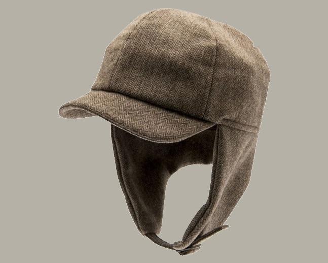 Pet `Uno Herringbone Brown` - cap met oorflappen - pilotenmuts bruin visgraat - maat 44/46/48/50/52/54 - CTH Mini