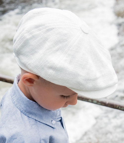 Pet `Gordon` Ramie Off-White - newsboy cap - off-white - maat 46/48/50/52/54 - CTH Mini