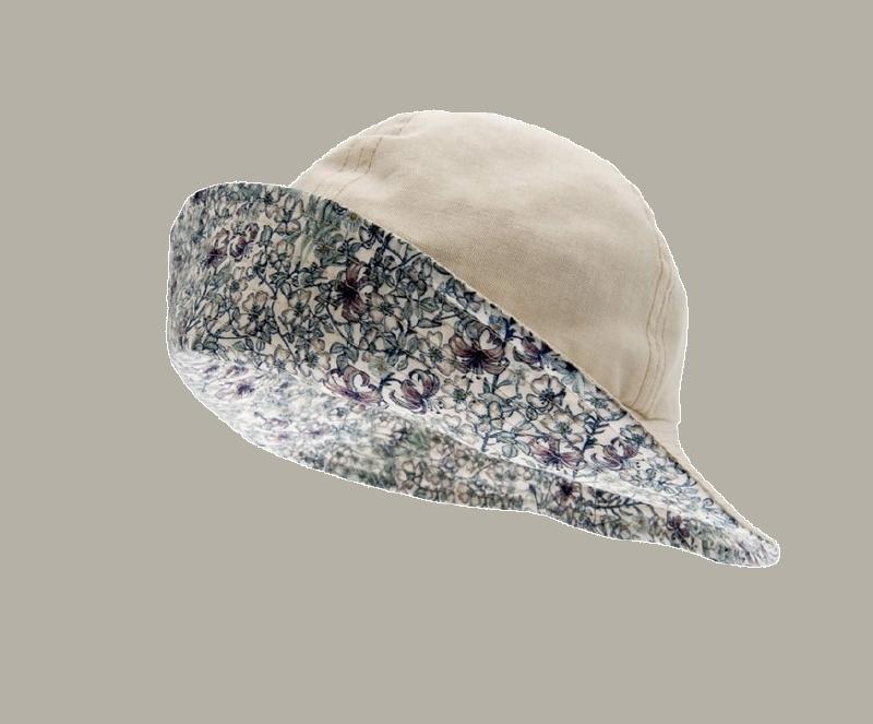 Hoedje 'Alice' - crème gebloemd katoenen hoedje voor meisjes - maat 46/48/56 - CTH Mini
