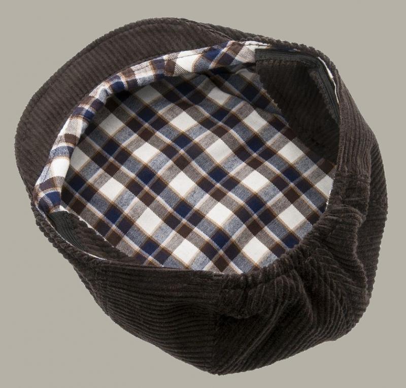 Pet 'Philip Corduroy Brown' - flat-cap met oorflappen - bruin rib - maat 46/48/50/52/56 - CTH Mini