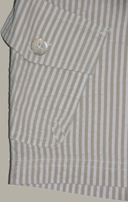 Little Linens wit/zand gestreepte bermuda - `seersucker` katoen - maat 68 - LL29