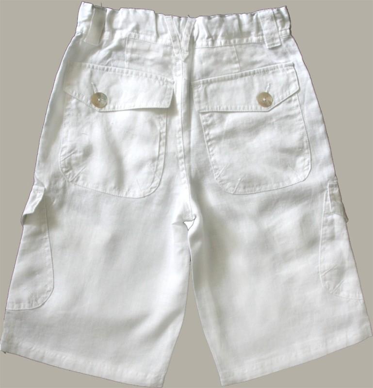 Little Linens witte linnen bermuda - maat 122/128 - LL13