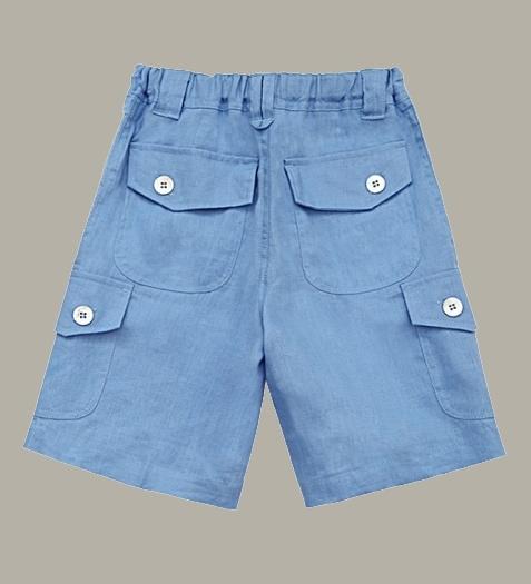 Little Linens 'Heritage Blue' linnen bermuda - maat 98/104 - LL50