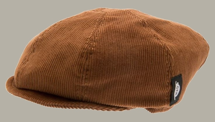 Pet `Theodor Cord Tan` - rib newsboy cap met oorflappen - camel/bruin - maat 50/52 - CTH Mini