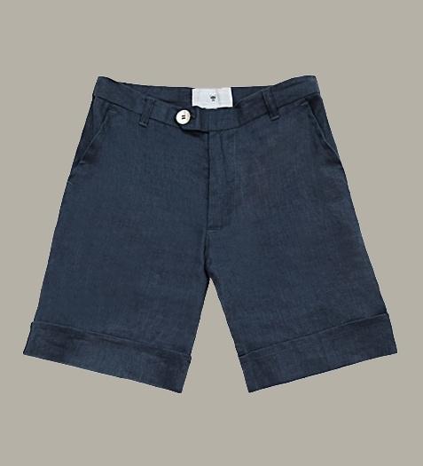 Little Linens 'Midnight Navy' donkerblauw linnen bermuda shorts - maat 80 - LL46