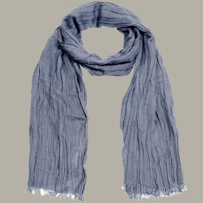 Shawl 'Job' jeansblauw - handgeweven viscose/linnen - FI