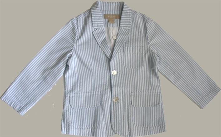 Little Linens wit/lichtblauw gestreept colbert - `seersucker` katoen - maat 110/116 - LL28