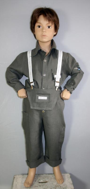 Cloggies Childwear antraciet linnen overhemd 'Fabian' - maat 110 - CLG01