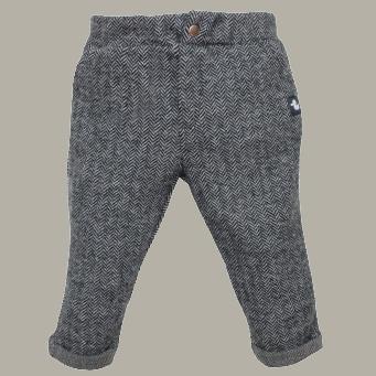 Ducky Beau pantalon  'Antra' - antraciet tweed visgraat - maat 50 - DB03