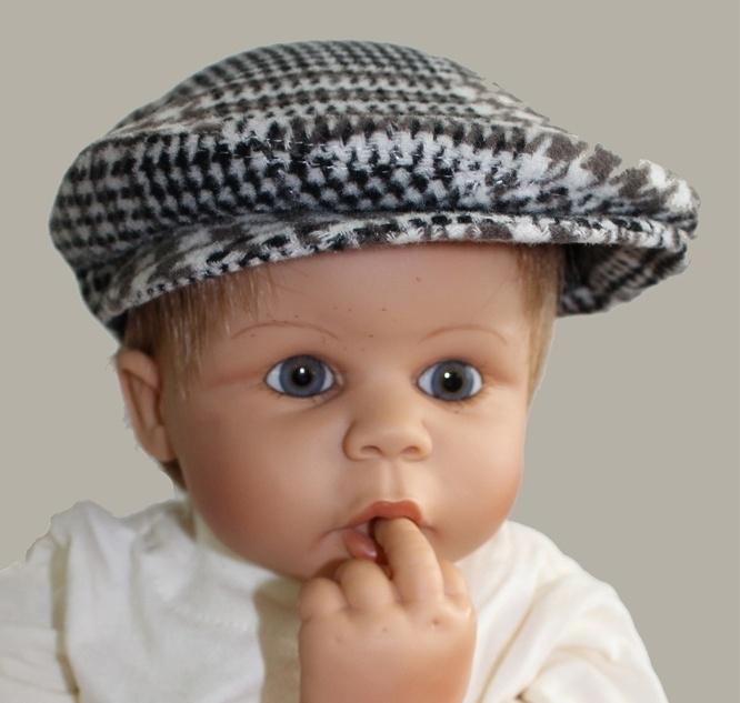 Pet  `Jonas` bruin/crème geruit - baby flat-cap - maat 40-42 - ClassyBoy
