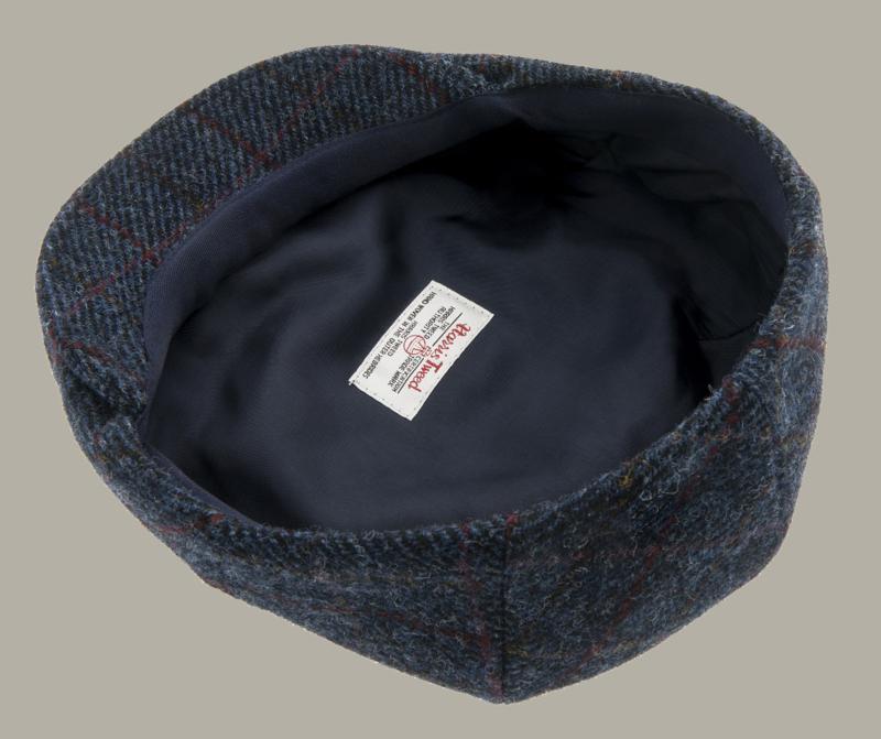 Pet `Edward Harris Tweed Overcheck Blue` - flat-cap - blauw wollen geruit - maat 60/62 - CTH Ericson