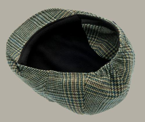 Pet 'Philip Glencheck Green` - cap met oorflappen - groen pied-de-poule - maat 46/56 - CTH Mini
