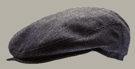Pet `Carl Herringbone Blue` - flat-cap met oorflappen - blauw visgraat - maat 48/50 - CTH Mini