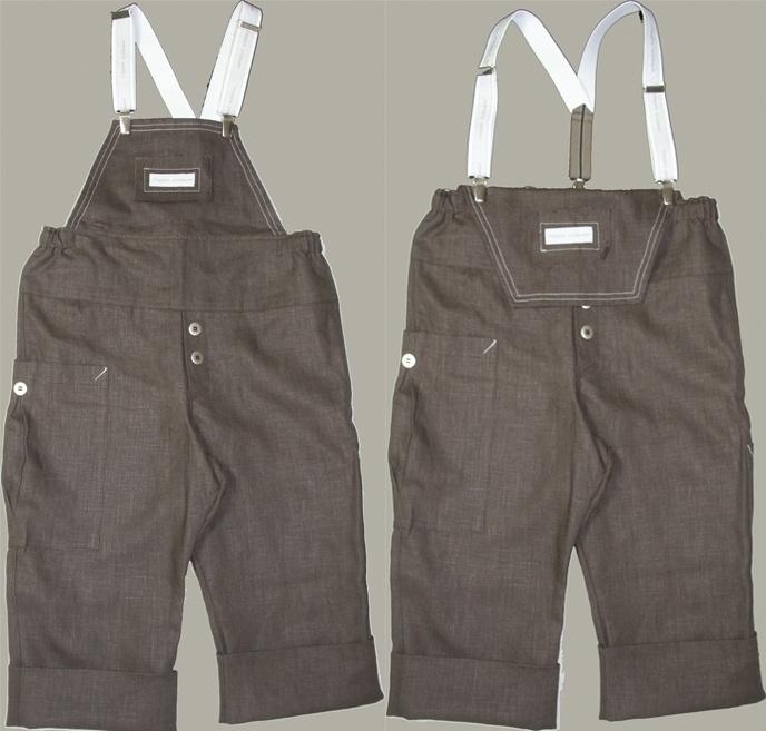 Cloggies Childwear bruin linnen salopet 'Kruimel' - maat 116 (valt ruim) - CLG03