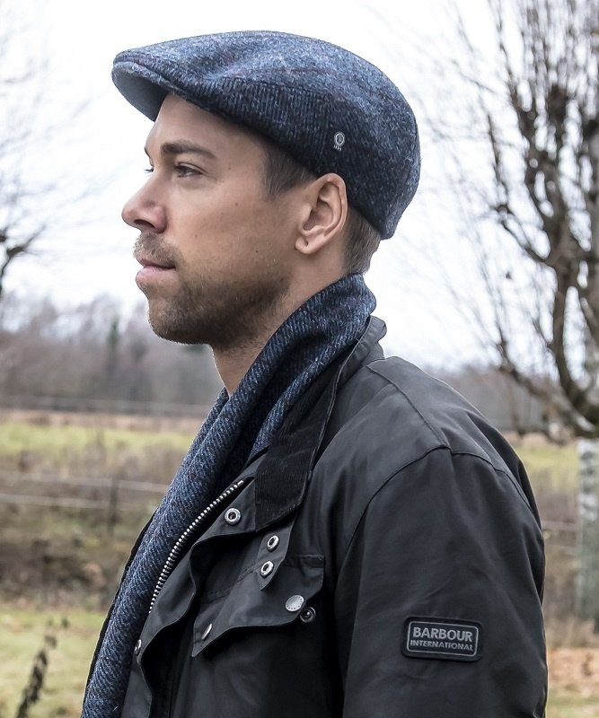 Pet `Edward Harris Tweed Overcheck Blue` - flat-cap - blauw wollen geruit - maat 60/62 - CTH Ericson