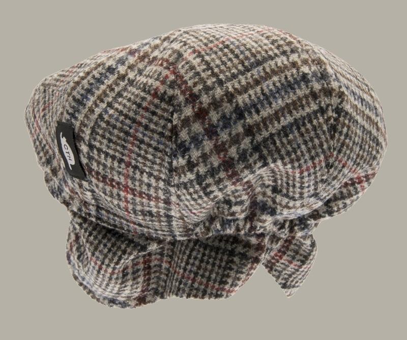 Pet `Carl Plejdo Multi` - flat-cap met oorflappen - beige/bruin met kleuren - maat 50/56 - CTH Mini