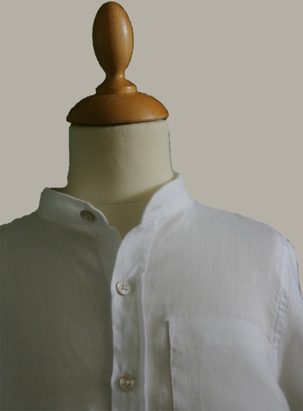 Little Linens wit linnen `granddad` overhemd - maat 68 - LL01