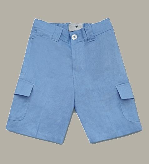 Little Linens 'Heritage Blue' linnen bermuda - maat 110/116 - LL50