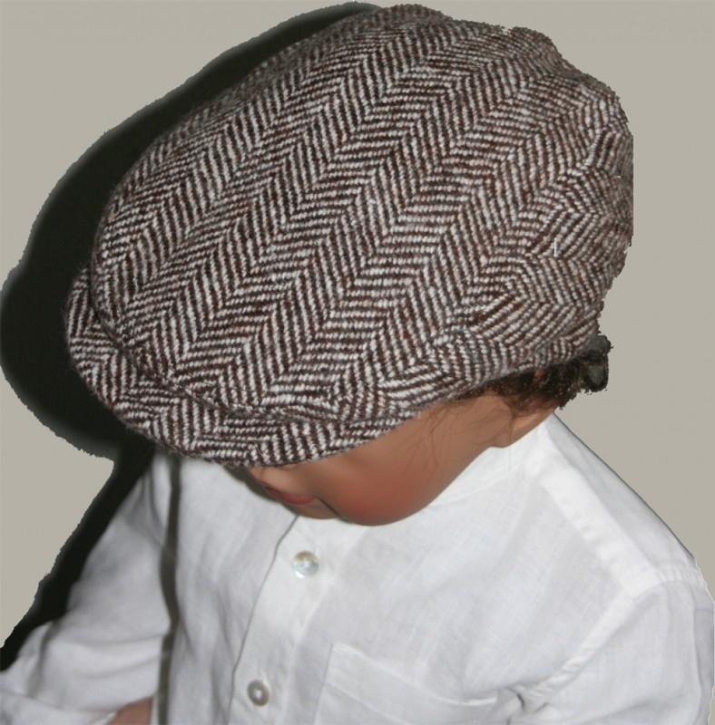 Pet `Luuc` - flat cap - bruin/wit wollen visgraat -maat 55 - FI