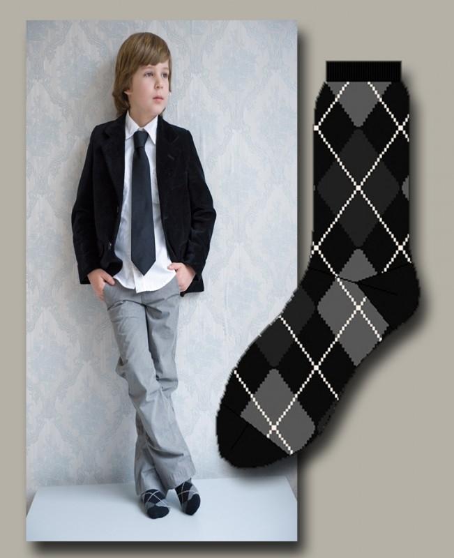 Bonnie Doon sok `Argyle` zwart met grijs - maat 19-38 - BD10