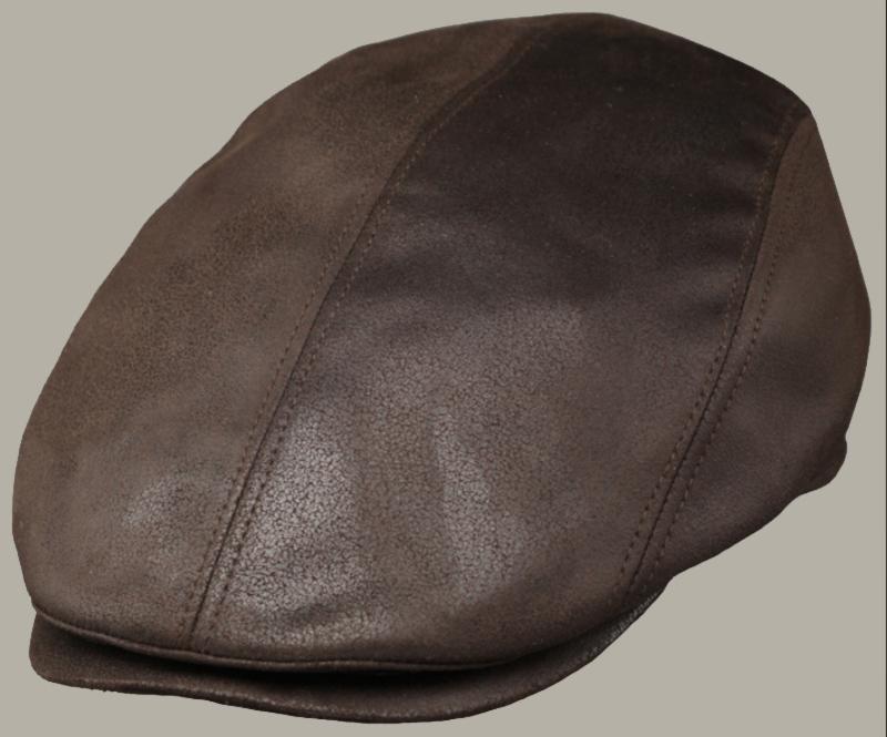 Pet 'Jacques' - bruine lat-cap van imitatie leer - faux leather - maat 59/63