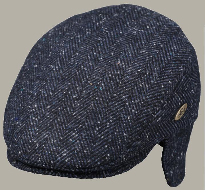 Pet 'Camiel' - flat-cap donkerblauw visgraatmotief - met oor kleppen - maat 56/57/58/ 59/60/ 61/62