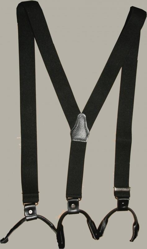 Bretels - zwart met bruine leertjes - maat 134 t/m volwassen maat - EL