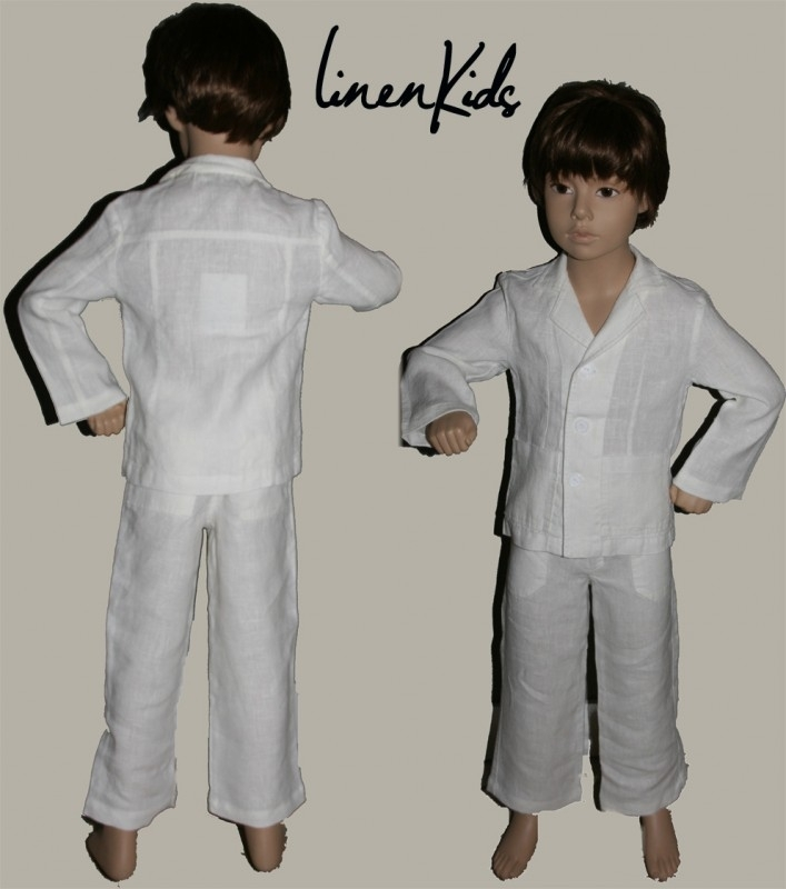 LinenKids witte linnen blazer en broek - maat 128 - LK108