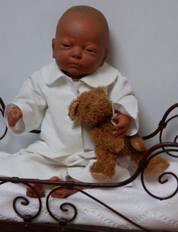 Arsa Baby setje `Benjamin` - dooppakje - ecru linnen - maat 56/62/68/74 - AR03