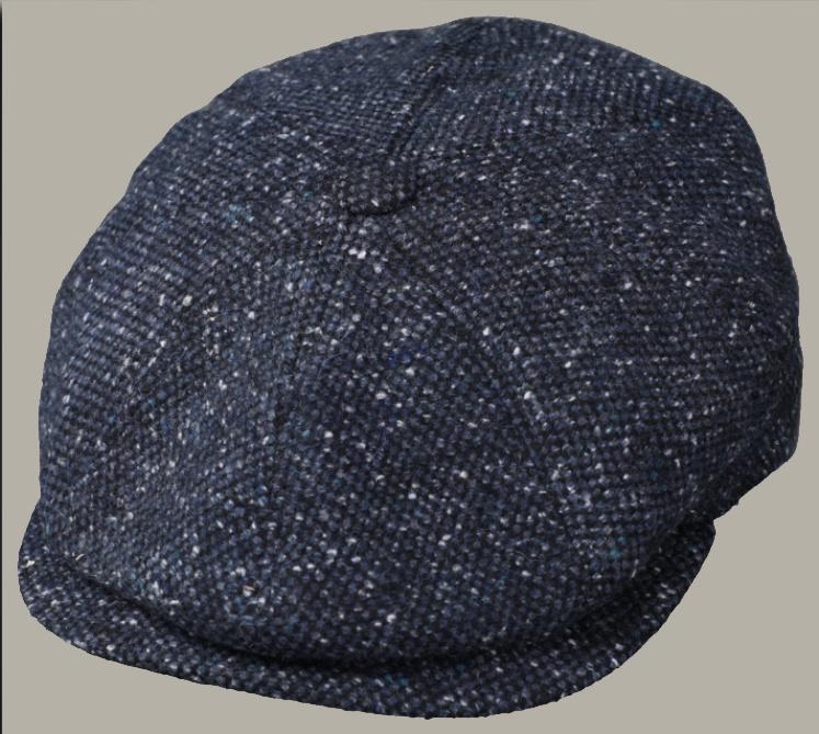 Pet 'Frederic' -newsboy cap - donkerblauw visgraatmotief - maat 58/59/61
